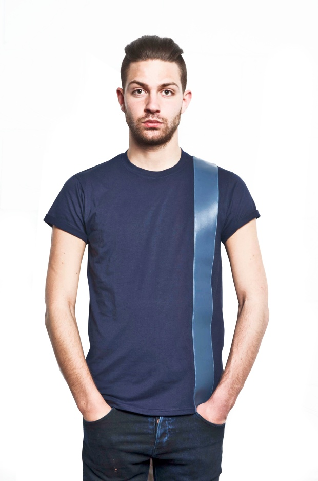 VA Blue Leather Strip Navy T-Shirt